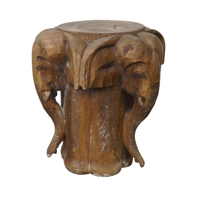 Hand Carved Wooden Elephant Stool Chairish
