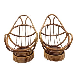 MCM Bohemian Rattan Swivel Rocking Chairs - Pair