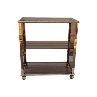 Mid-Century Italian Gilt & Smoked Glass Bar Cart