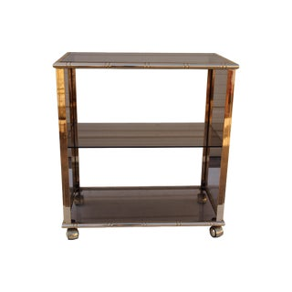 Mid-Century Italian Gilt & Smoked Glass Bar Cart