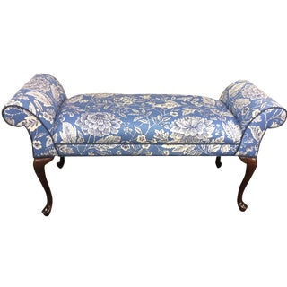 Blue & White Floral Bench