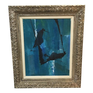 Kimberly Moore Abstract Blue & Black Silver Gilt Frame