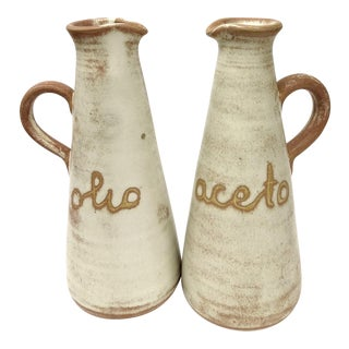Italian Rustic Oil & Vinegar Pitchers - A Pair