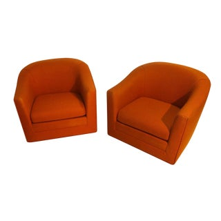 Pair Milo Baughman Style Mid Century Swivel Lounge Chairs