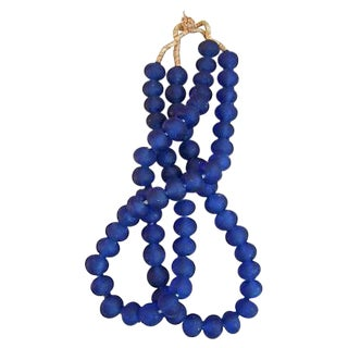 Deep Blue Jumbo Sea Glass Bead Strands - a Pair