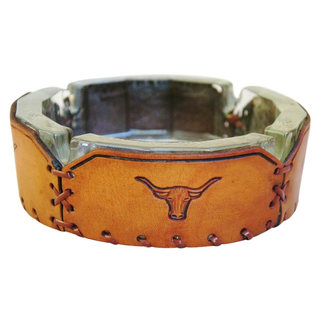 Embossed Leather Texas Longhorn Ashtray - Image 1 of 7