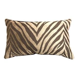 Zebra & Brown Velvet Lumbar Pillow