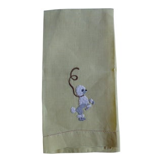1950s Yellow Dancing Poodle Dog Hand Towel