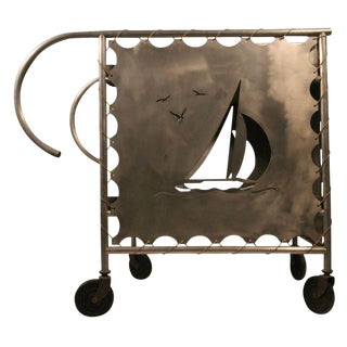 Mid-Century Modern Nautically Themed Bar Cart