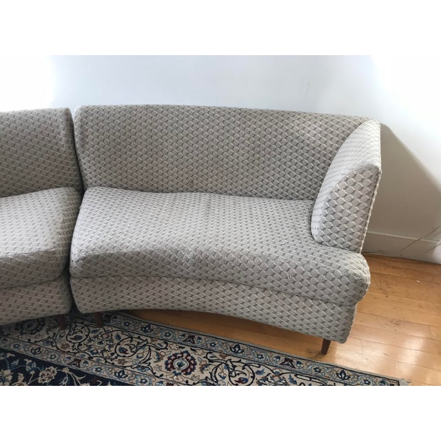 Curved Keller-Williams Vintage Mid Century Sectional Sofa - 3 Pieces - Image 4 of 9