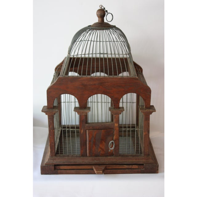 Cathedral Style Wood & Wire Birdcage - Image 2 of 4