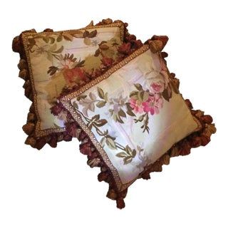 Aubusson Floral Decorative Pillows - A Pair