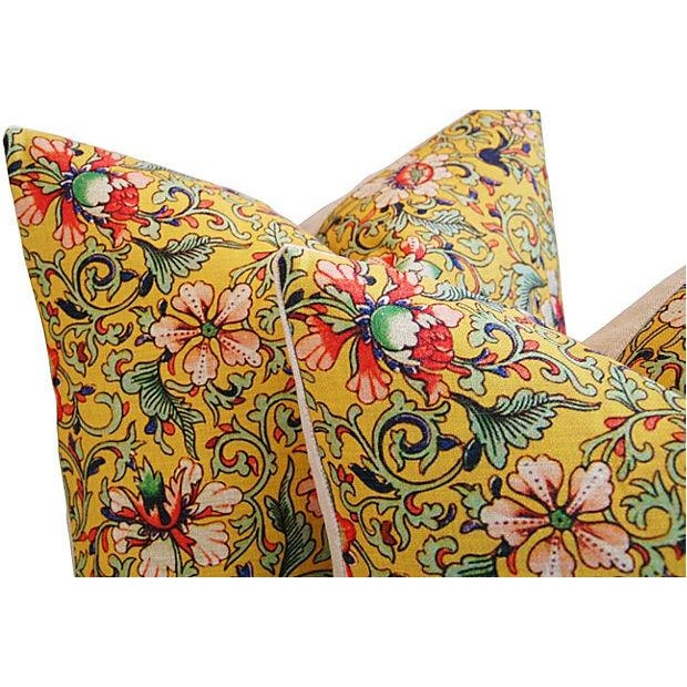 Colorful Asian Floral Linen Pillows - a Pair - Image 5 of 7