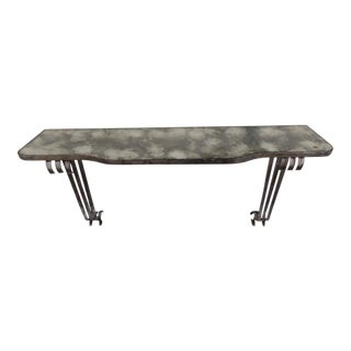 Large French 1930s Silvered Iron Console Attributed to Raymond Subes