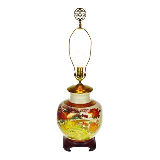 Vintage Japanese Kutani Eizan Ceramic Crackle Vase Table Lamp with Wood Base