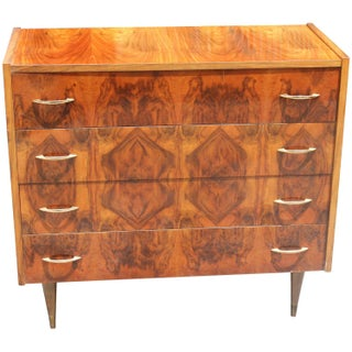 French Art Deco Exotic Walnut 4 Drawer Dresser