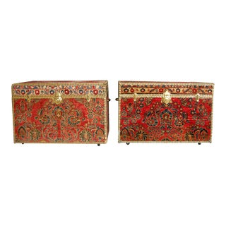 Antique 1920's Persian Sarouk Covered Nailhead Trunks - A Pair