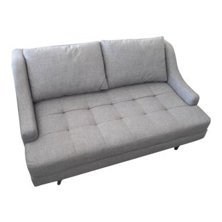 Stem Meera Slope Arm Loveseat in Bennet Praline Gray Fabric, Tufted Seat