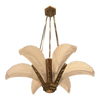 """French Art Deco """"Feather"""" Chandelier"""