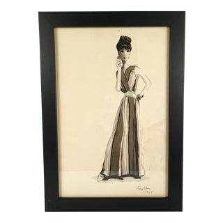 Woman in Striped Dress Watercolor
