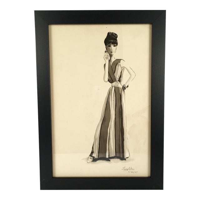Woman in Striped Dress Watercolor - Image 1 of 4