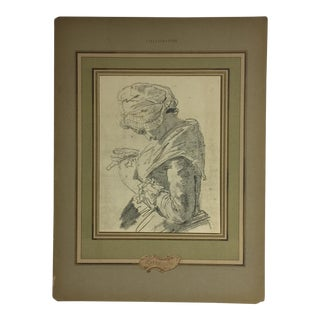 Vintage French Print of a Woman by Chardin