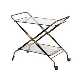 Gio Ponti Style Brass Glasstop Bar Cart