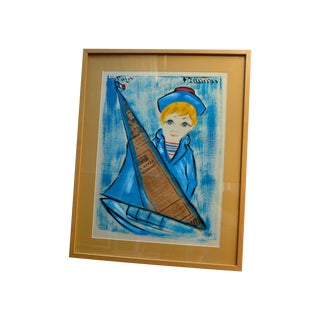 1960's French Sailor Boy Painting