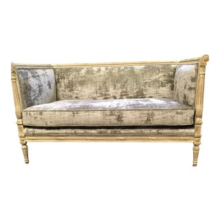 French Louis XVI Style Oak Framed Velvet Settee