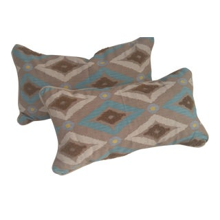 Contemporary Rectangle Pillows With Tribal Design - A Pair