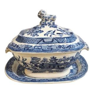 19thc Early Spode England Blue Willow Tureen