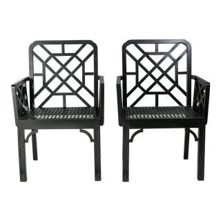 Chinoiserie Hollywood Regency Lattice Armchairs - A Pair