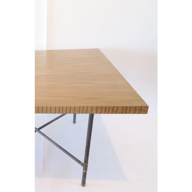 Image of Pipe Table With Chisled Edge Wood Top