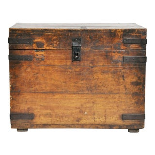 Wooden Storage Box with Iron Trim