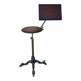 19th Century Mechanical Music Stand With Candle Table