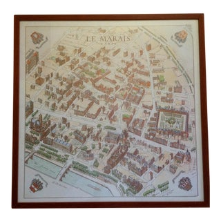 Framed Map of Le Marais Paris