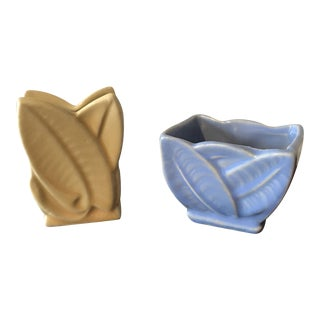 Vintage Yellow & Blue Pottery Vases - A Pair