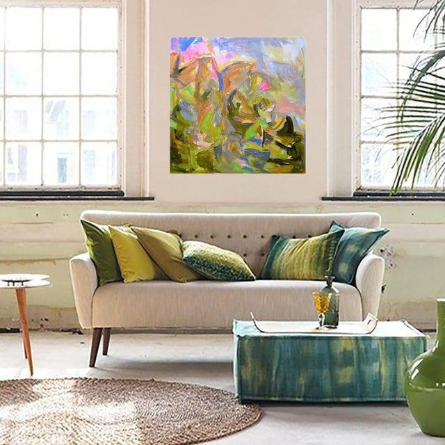 "Large Abstract Painting by Trixie Pitts ""Mountain Falls"" - Image 2 of 3"