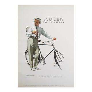 1926 German Poster, Adler Fahrräder, Man on a Bike