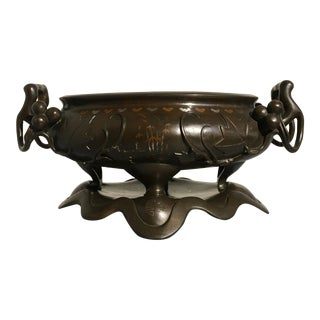 Chinese Silver and Copper Inlaid Bronze Planter, Qing Dynasty, 19th century