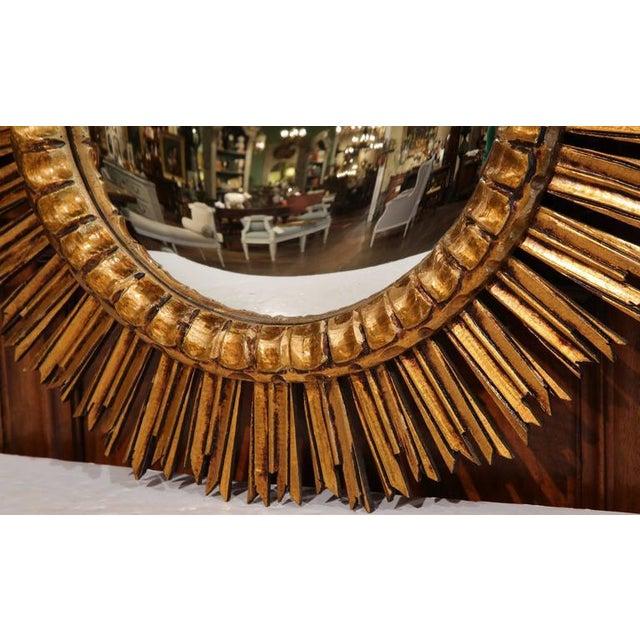 Mid-Century French Sunburst Mirror with Gilt Finish & Convex Mirror - Image 4 of 7