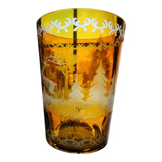 Czech Etched Amber Glass Tumbler