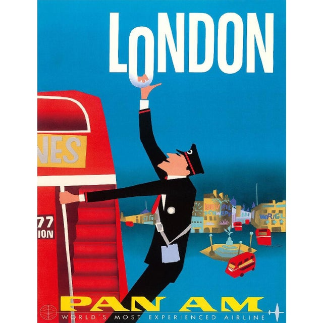Vintage Reproduction Blue London Travel Poster - Image 1 of 2