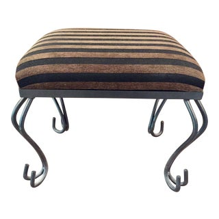 Decorative Iron Striped Fabric Foot Stool