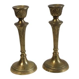 Antique Brass Candlesticks - A Pair