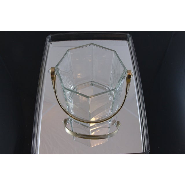 Octagon Glass & White Gold Metal Finish Icebucket - Image 3 of 5