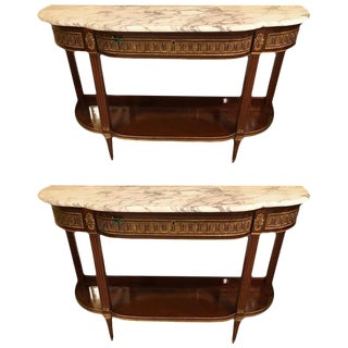 Marble-Top Bronze Mounted Consoles - A Pair