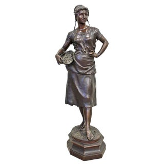 Large Antique French Bronze Statue By Charles Georges Ferville-Suan