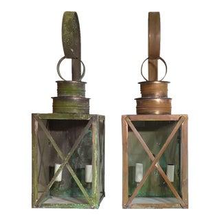Copper Wall Lantern - A Pair