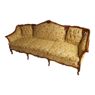 Louis XIV Antique Reproduction Hand Carved Solid Walnut Frame Sofa